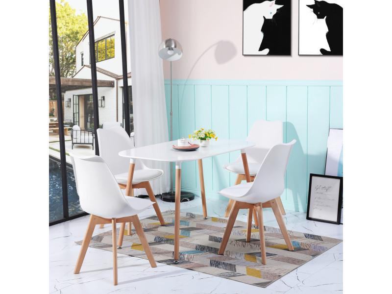 4 chaises design contemporain nordique scandinave blanc chaises de cuisine en bois