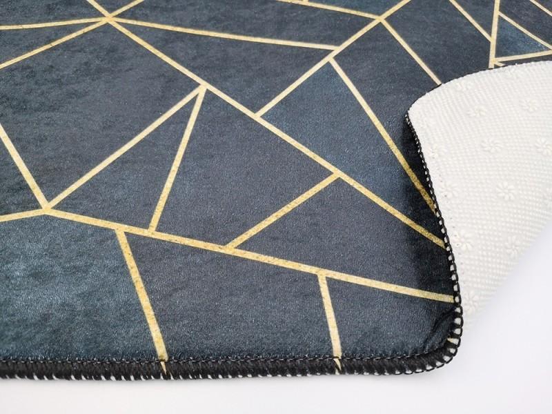 tapis moderne grafic noir jaune dore dimensions 200 x 290 cm couleur noir dore