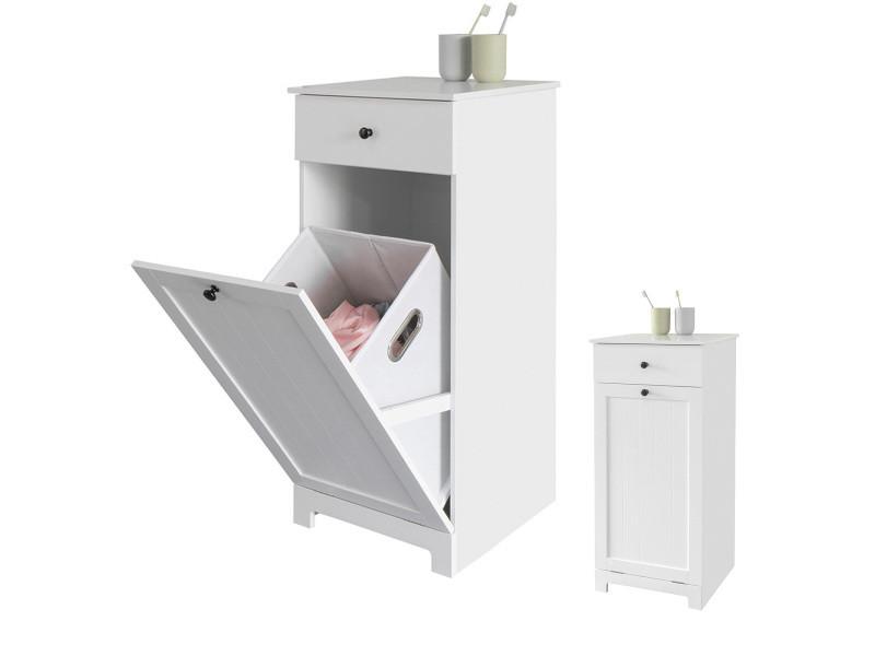 meuble bas de salle de bain armoire toilette avec 1 tiroir et 1 panier a linge meuble de rangement corbeille a linge coffre a linge porte vetement