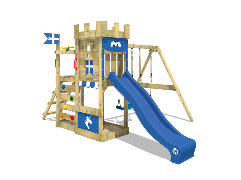 wickey aire de jeux portique bois royalflyer avec balancoire et toboggan bleu maison enfant exterieur avec bac a sable echelle d escalade