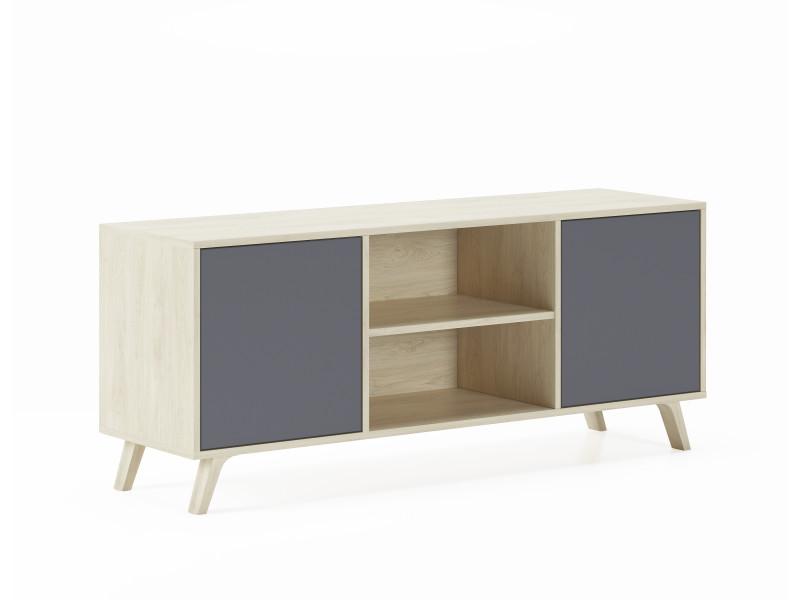 meuble tv 140 avec 2 portes salon modele wind couleur structure puccini portes couleur gris anthracite mesure 140x40x57cm de haut