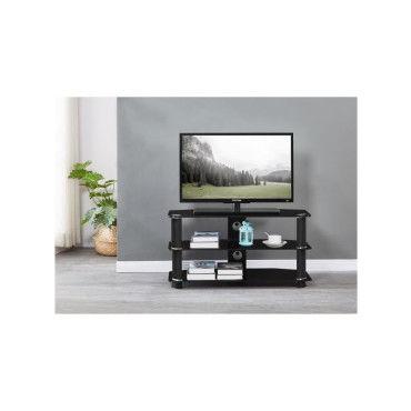 nathan meuble tv en verre trempe noir