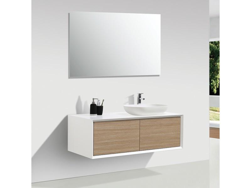meuble salle de bain double vasque palio 120 cm blanc chene clair vente de salle de bain pretes a emporter conforama