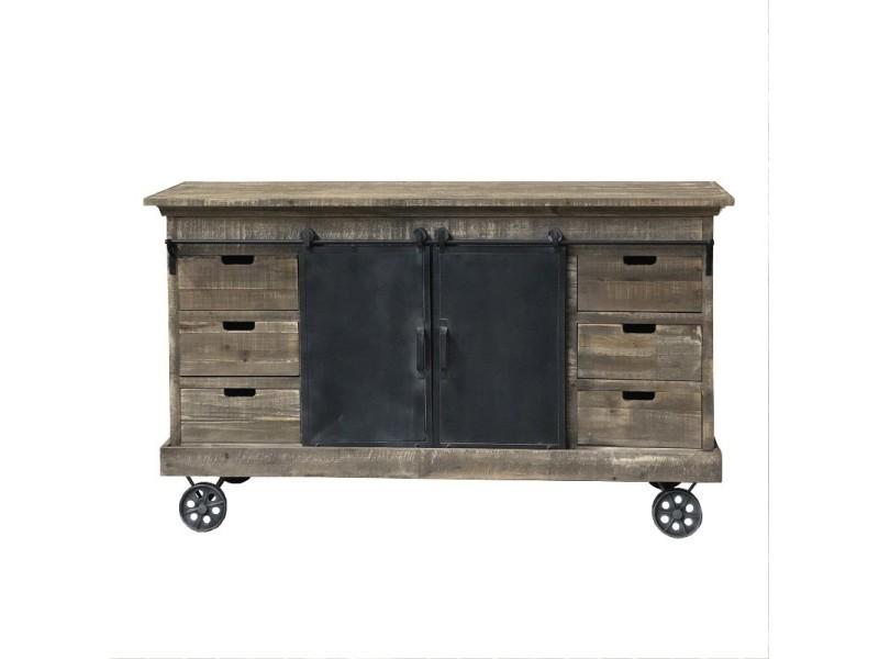 meuble industriel campagne avec roulettes bahut enfilade buffet fer bois 160 cm