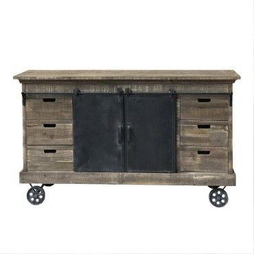 meuble industriel campagne avec roulettes bahut enfilade buffet fer bois 160 cm m87395806
