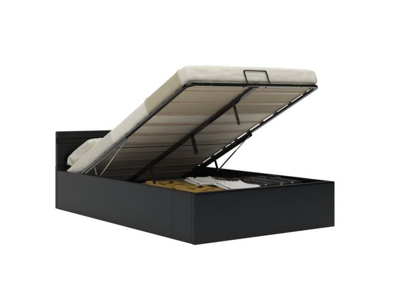 vidaxl cadre de lit a rangement avec led noir similicuir 140x200 cm