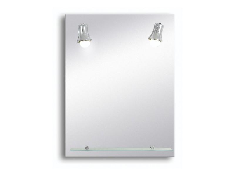Miroir De Salle De Bains Avec Eclairage Fluo Compacte Modele Spots Chromes 65 Cm X 50 Cm Hxl Vente De Pradel Premium Conforama