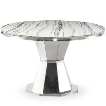 repas ronde marbre annie 120cm blanc