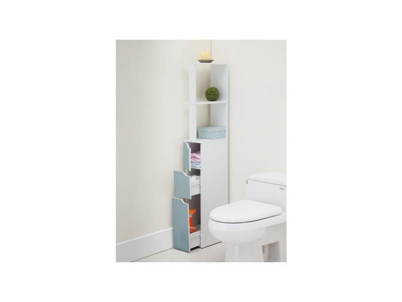 Top Colonne De Toilette L 15 Cm Blanc Et Bleu Mat 516052 Vente De Divers Conforama