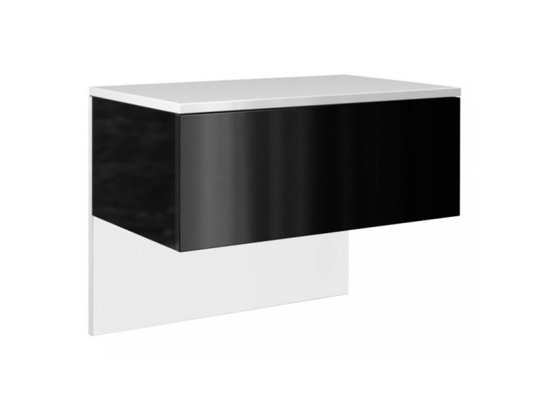 esther meuble de chevet mural chambre dimensions 46x61x35cm meuble moderne a suspendre effet gloss 1 tiroir coulissant blanc noir