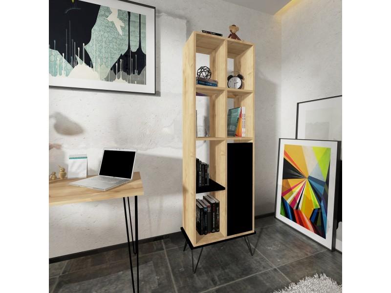 homemania bibliotheque alves avec etageres meuble de rangement avec porte pour salon bureau chene noir en bois 60 x 30 x 185 4cm