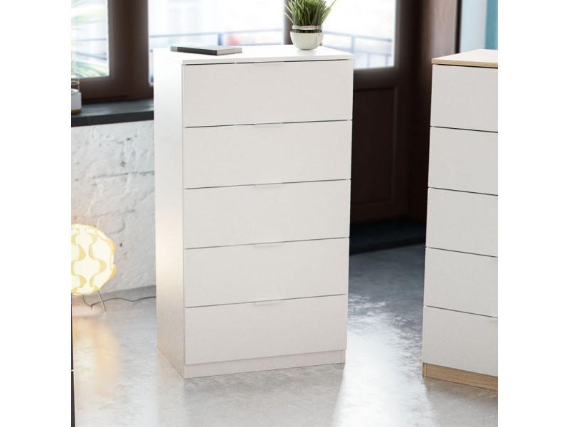 chiffonnier 5 tiroirs blanc natac l 60 x l 40 x h 110 cm