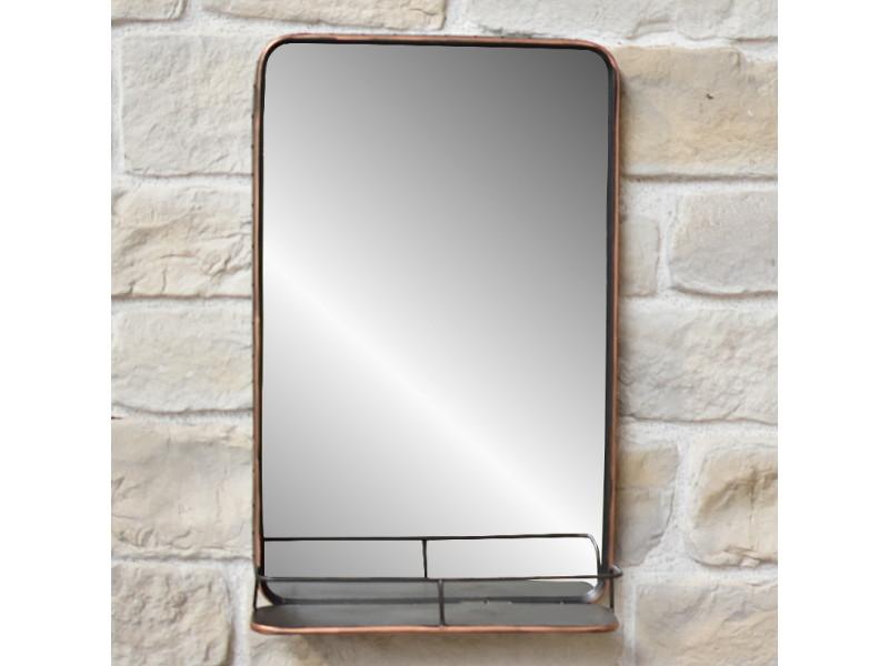 miroir etagere tablette industriel mural metal fer 50 cm x 80 cm x 13 50 cm