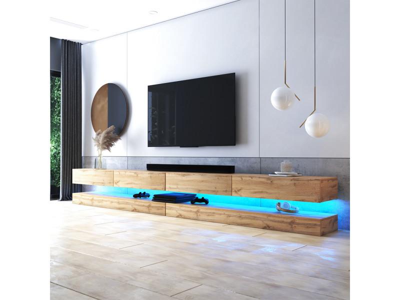 meuble tv suspendu hylia double 2x140 cm chene wotan avec led style moderne