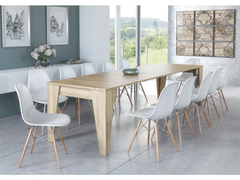 table console salle a manger avec rallonges jusqu a 305cm couleur chene dimensions fermee 90x53 6x74 6 cm de hauteur