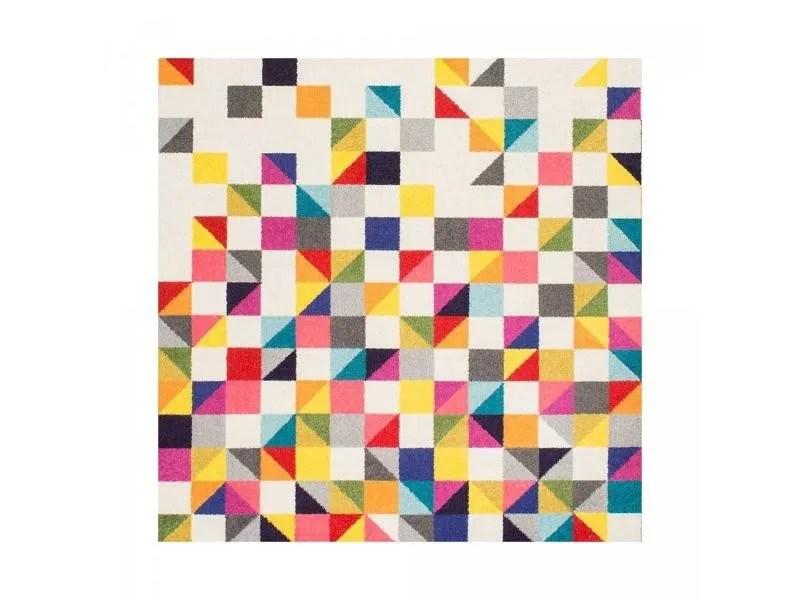 tapis carre multicolore