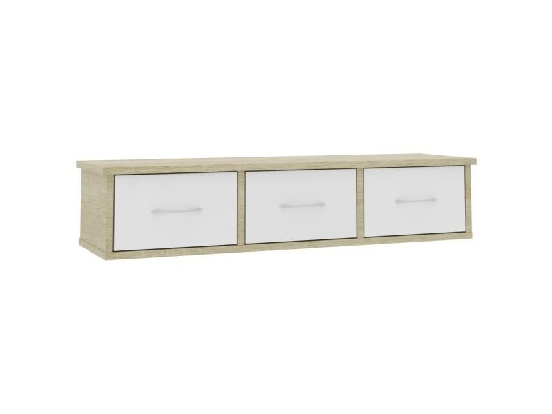 vidaxl etagere murale avec tiroirs blanc et chene sonoma 88x26x18 5 cm