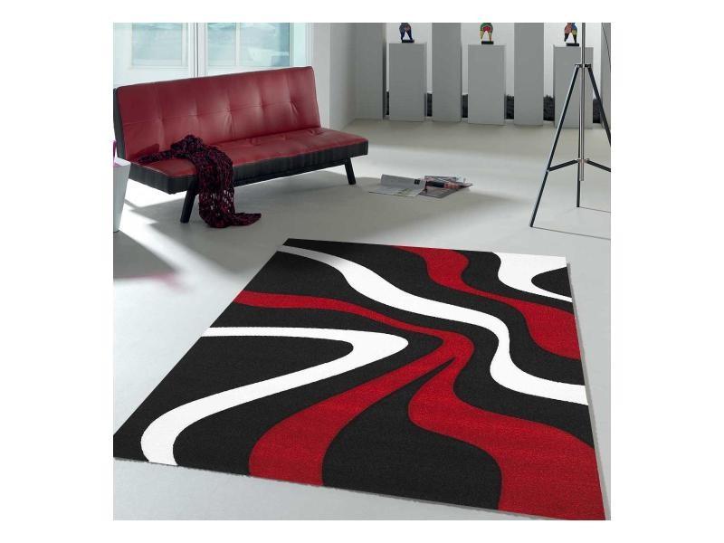 tapis design et moderne 240x340 cm rectangulaire nodage rouge salle a manger adapte au chauffage par le sol