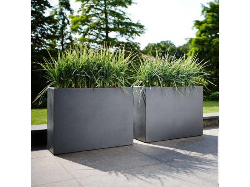 jardiniere rectangle brise vue hauteur 59cm en polyethylene 80x30cm pure gris