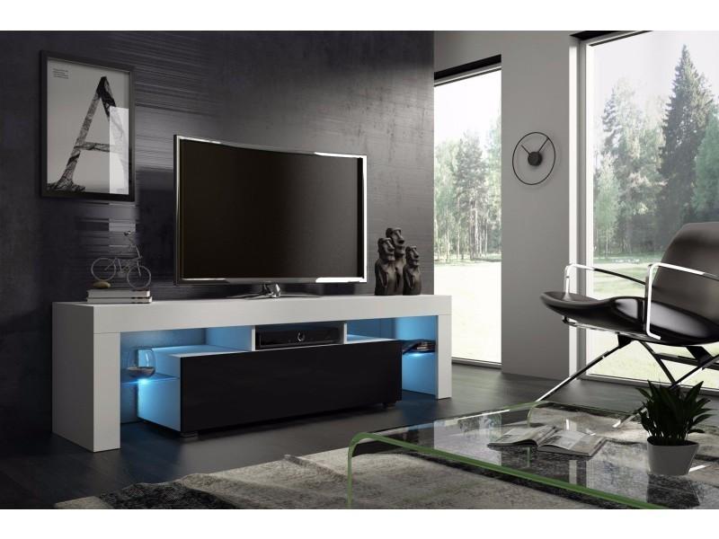 meuble tv 160 cm blanc mat et noir laque avec led rgb