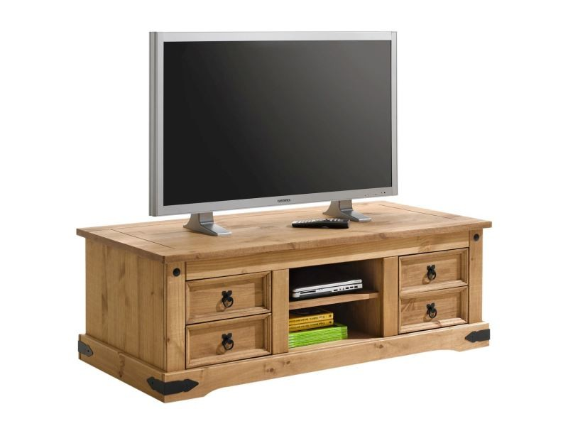 Meuble Banc Tv Vintage Style Mexicain Pin Massif Finition