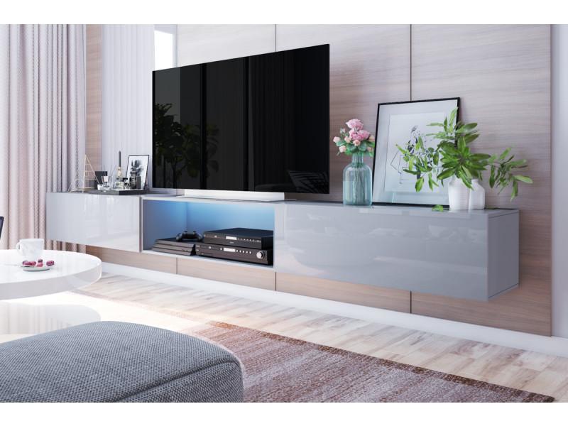 meuble tv suspendu larka 300 cm gris led