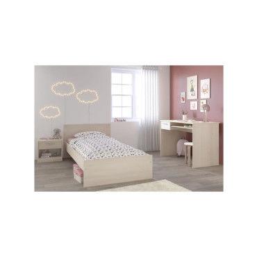 charlemagne chambre enfant complete lit chevet bureau style contemporain decor acacia clair et blanc r15613006