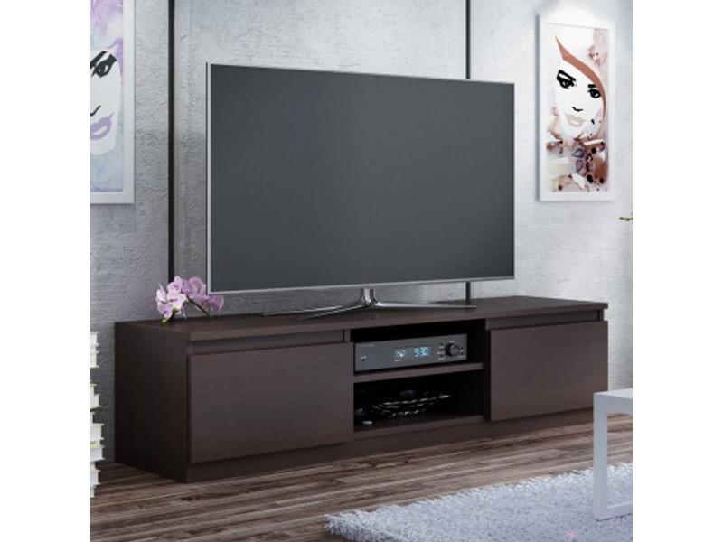 meuble tv banc tv clino 140 cm effet wenge style contemporain