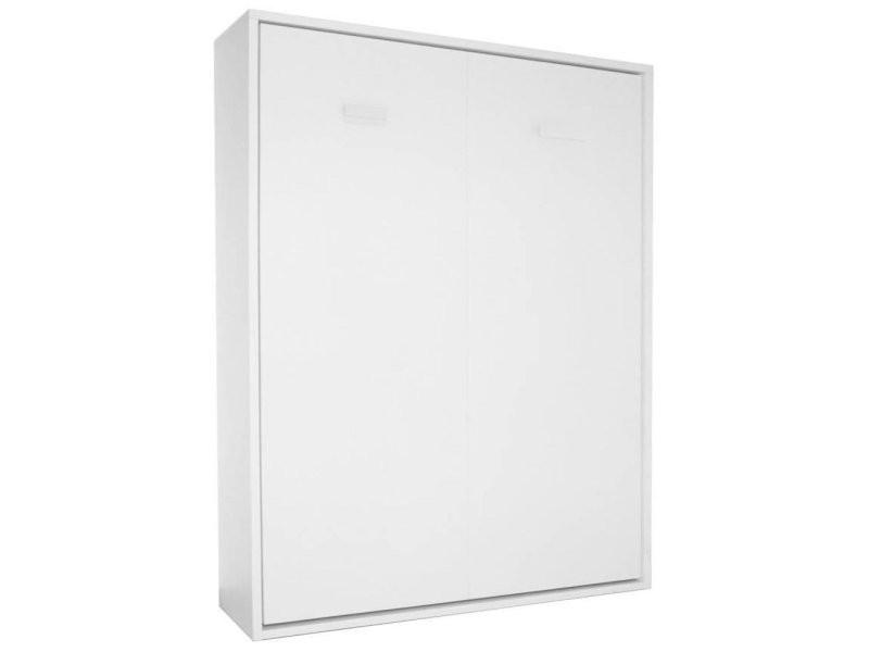 armoire lit escamotable smart v2 blanc mat couchage 160 200cm
