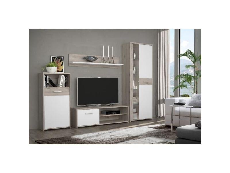 living meuble tv mural complet gulada ensemble meuble tele buffet table a manger contemporain blanc et decor chene