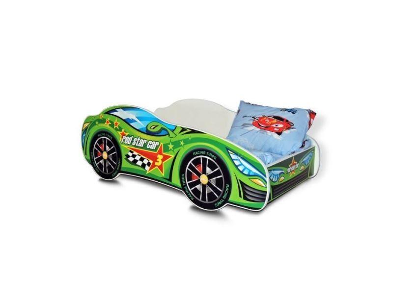 bb lit enfant en bois voiture car avec matelas sommier a lattes couffin 140 x 70 cm 04 vert