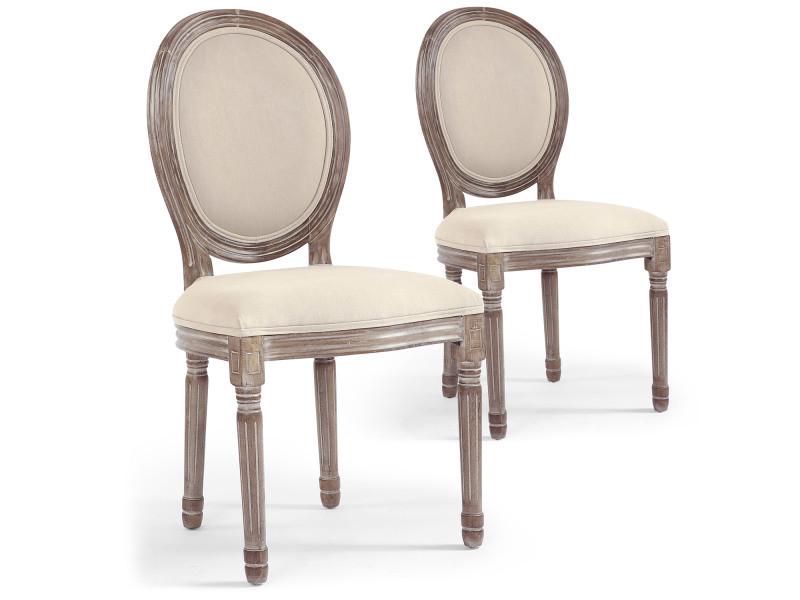 lot de 2 chaises medaillon louis xvi tissu beige