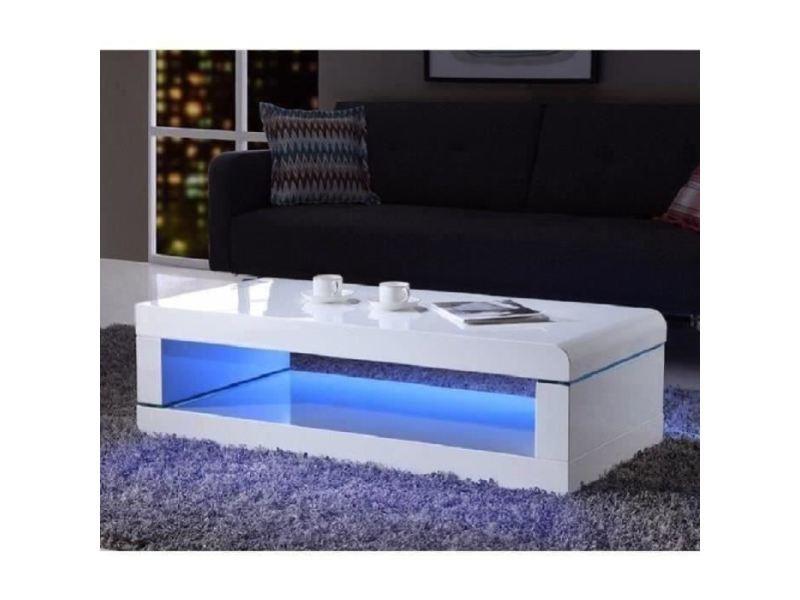 icaverne table basse luz table basse avec led multicolore style contemporain laque blanc brillant l 120 x l 60 cm