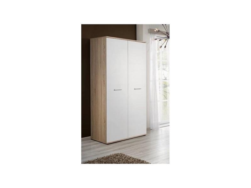 armoire penderie dino 90 cm x 191 cm x 55 cm chene et blanc