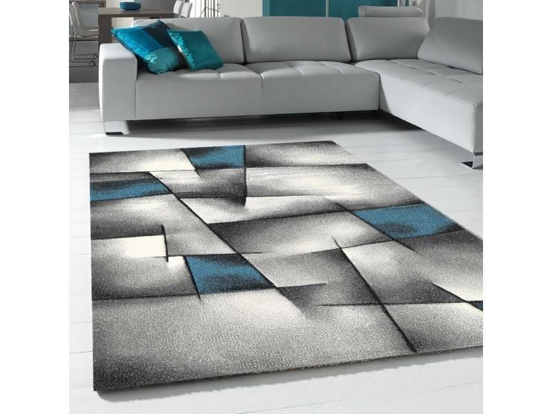 tapis contemporain pour la chambre triangula noir gris bleu 60 x 110 cm