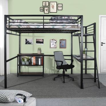 lit mezzanine 2 personnes 140 190cm avec bureau integre noir h66665658
