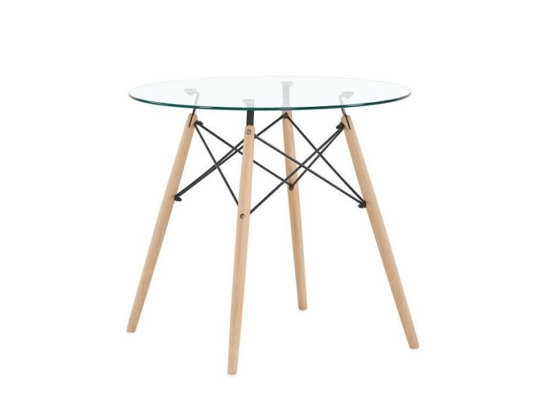 table a manger ronde en verre transparent scandinave pieds en hetre et support en metal
