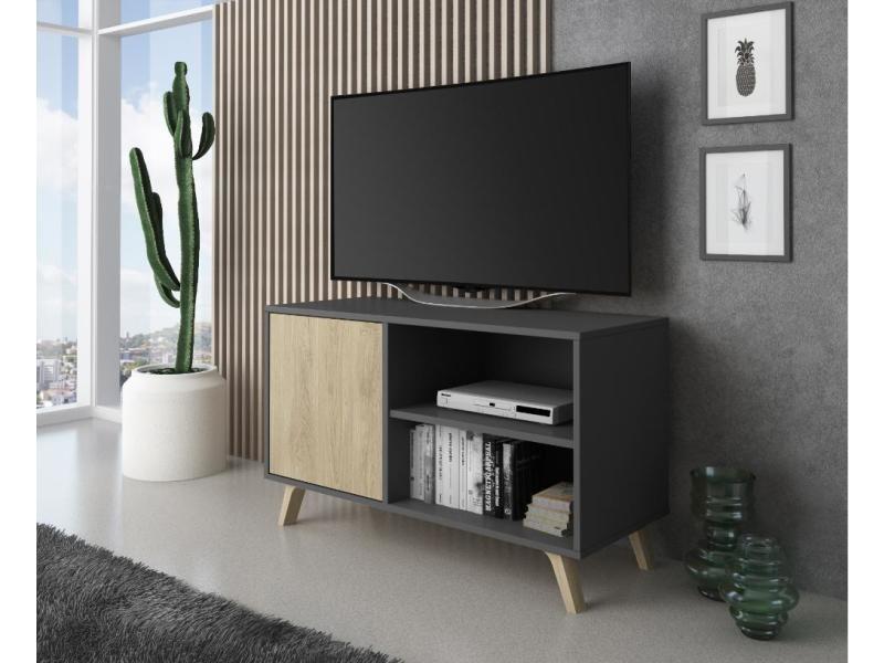 meuble tv 100 avec porte a gauche salon modele wind couleur structure gris anthracite porte couleur puccini mesure 95x40x57cm de haut