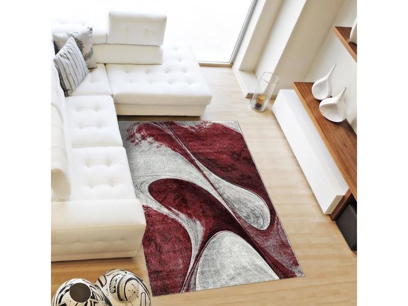 tapis design et moderne 160x230 cm rectangulaire madila bordeaux salon adapte au chauffage par le sol