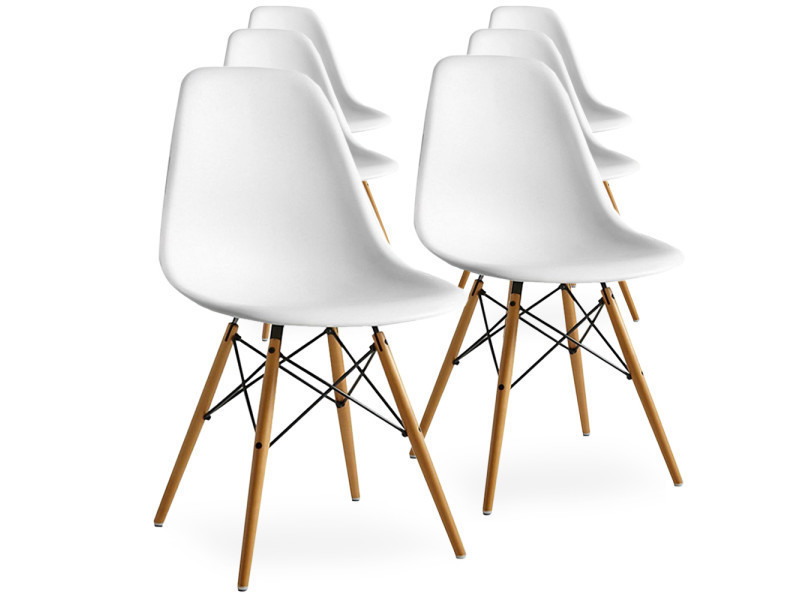 lot de 6 chaises scandinaves blanches style eiffel