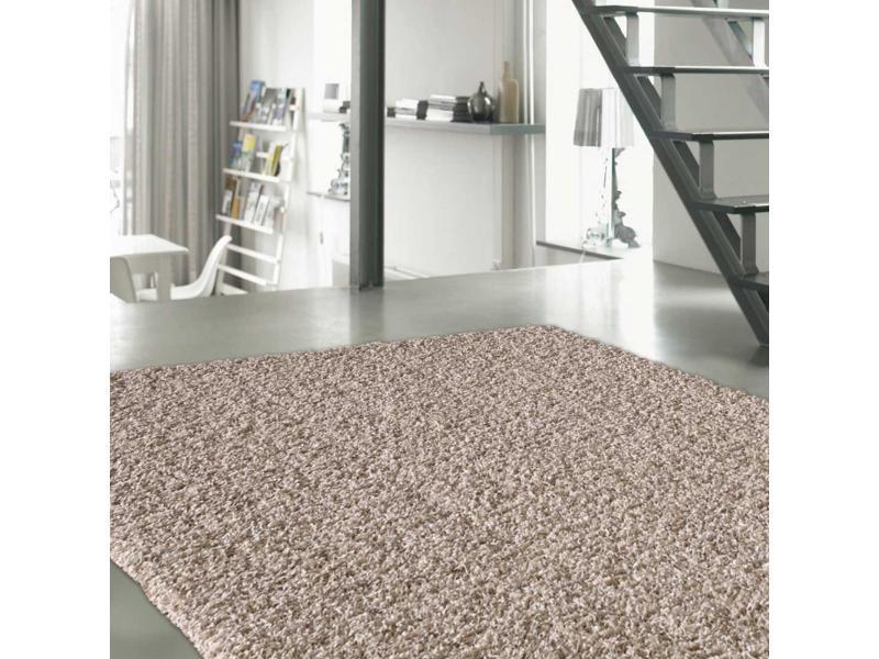 tapis shaggy poils long 200x290 cm rectangulaire sg loca beige salle a manger adapte au chauffage par le sol
