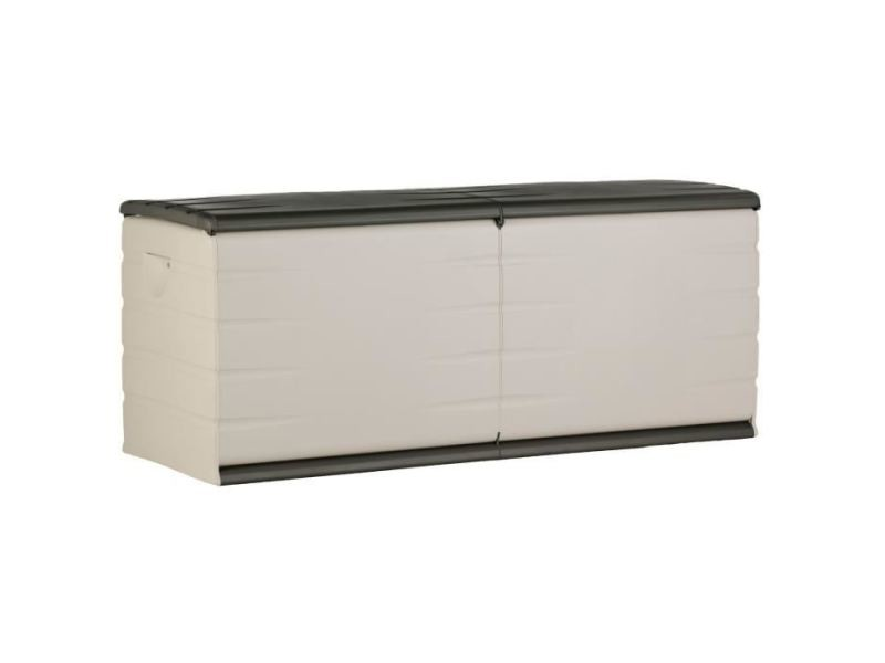 coffre d exterieur rangement d exterieur coffre 450l interieur exterieur fonctionnel et esthetique cadenassable avec roulettes beige et gris fonce