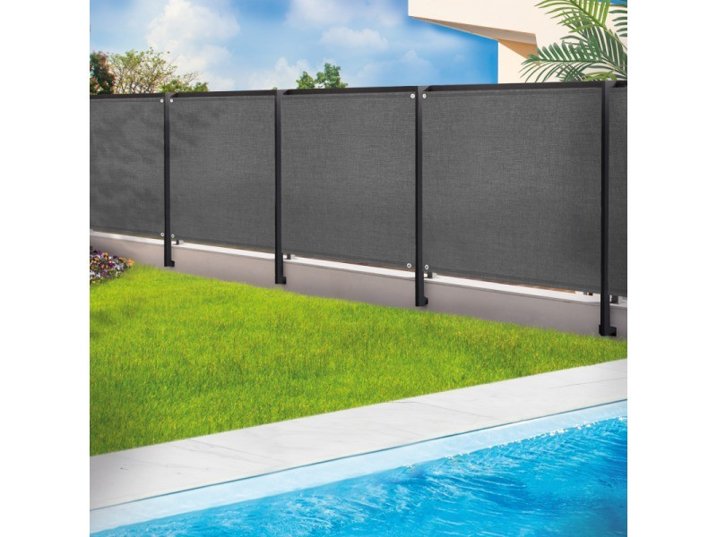 brise vue renforce 1 2 x 10 m gris 220 gr m luxe pro