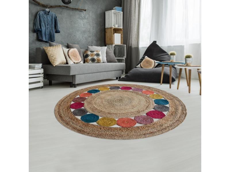 tapis kilim 250x250 rond cm rond jt rondarond multicolore entree tisse a la main jute