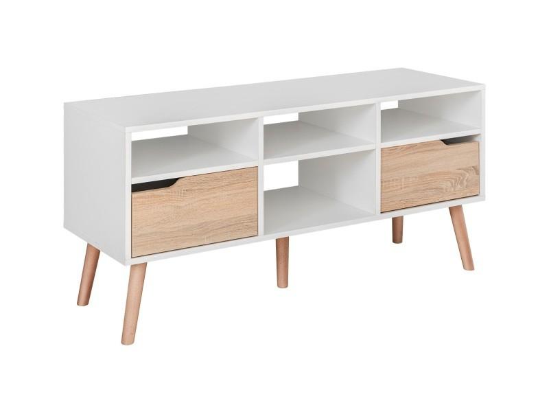 sven meuble bas tv style scandinave salon sejour 117x58x38 cm meuble television avec rangements 2 tiroirs aspect bois blanc chene