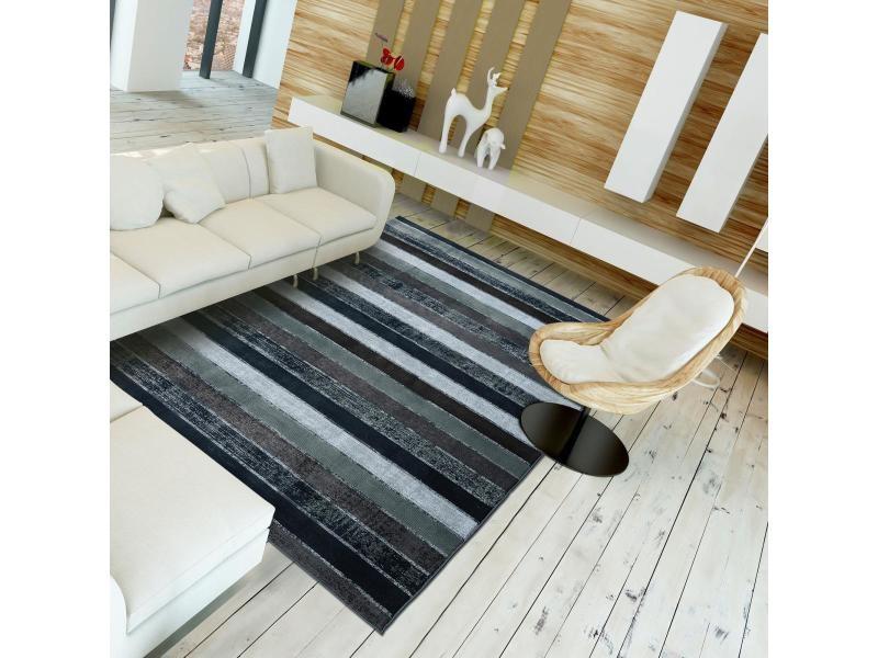 tapis design et moderne 200x290 cm rectangulaire plastique recycle recyclable 4 ll gris grand salon adapte au chauffage par le sol