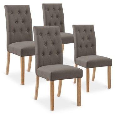 4 chaises capitonnees gaya tissu taupe