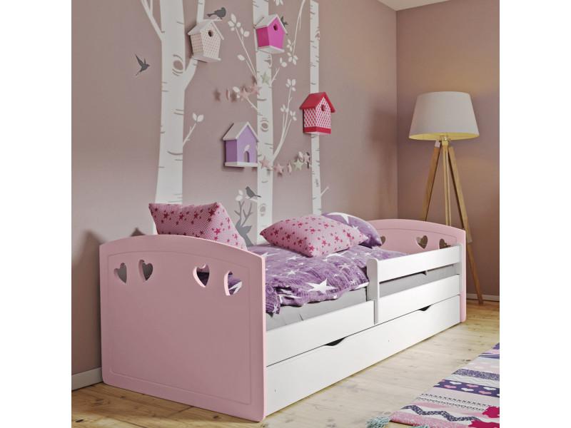 lit enfant derata 140x80 cm tiroir de rangement rose poudre blanc