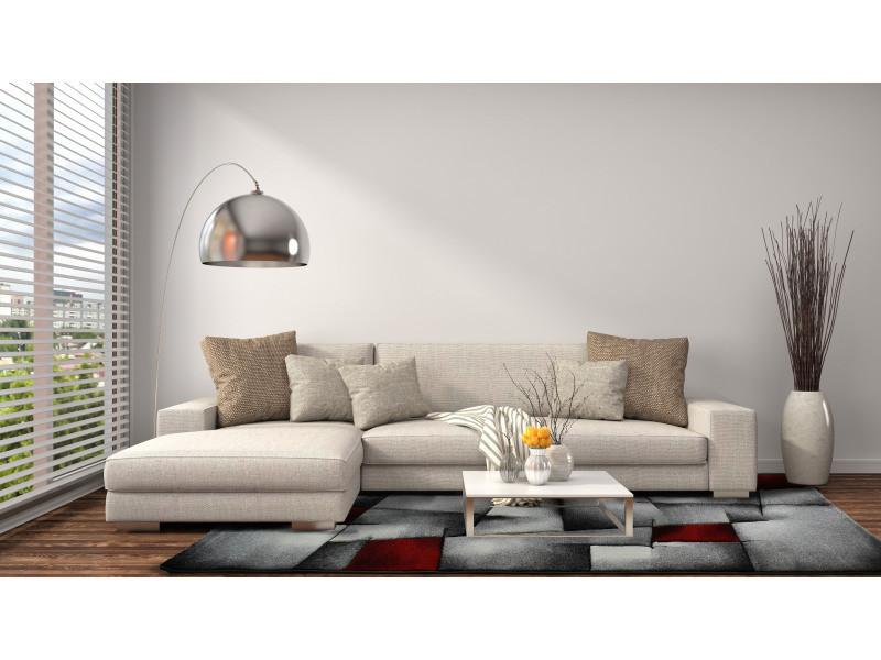 tapis design et moderne 200x290 cm rectangulaire brillance 660 910 rouge salle a manger adapte au chauffage par le sol