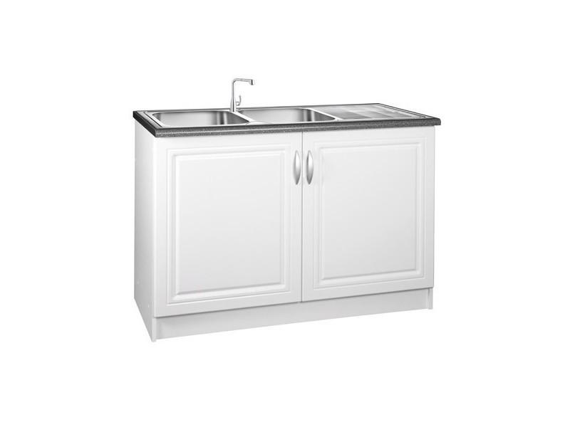 meuble de cuisine sous evier 2 portes 120 cm dina en melamine blanc